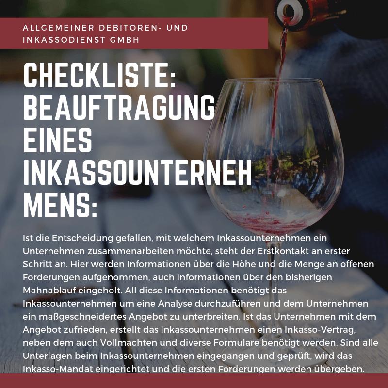 Allgemeiner Debitoren- und Inkassodienst GmbH checkliste beauftragug eines inkassounternehmens